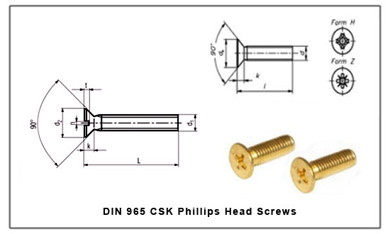 DIN 965 CSK Phillips Head Screws